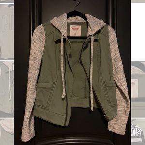 Olive Green and Gray Trucker Coat